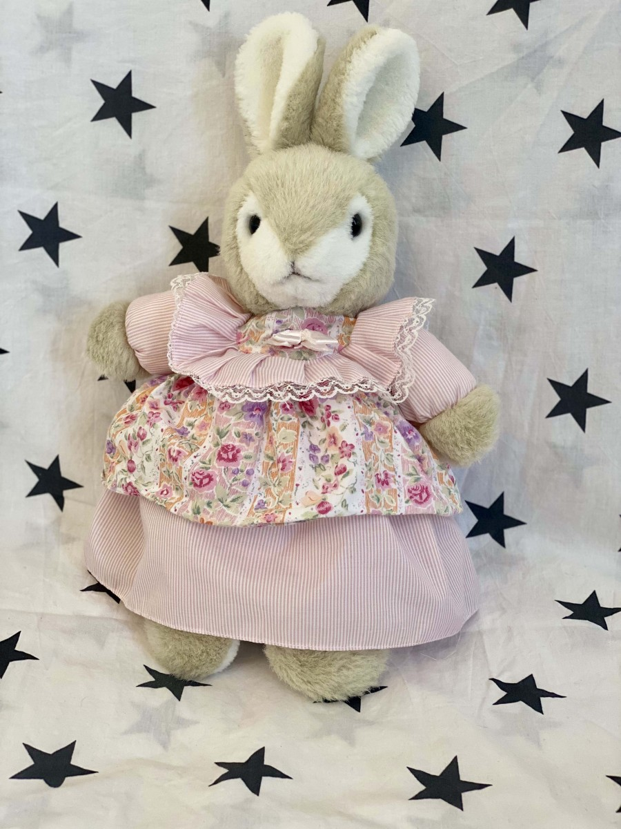 Grey Bunny In Pink Dress